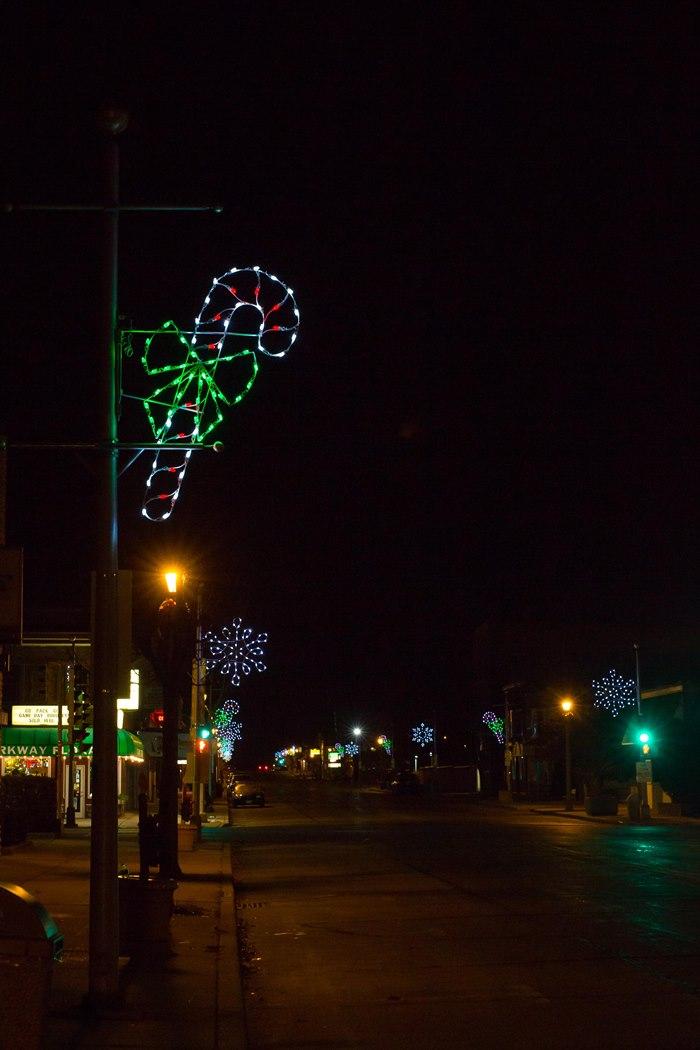 lighting up downtown for christmas