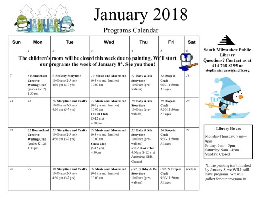 January 2018 children's calendar
